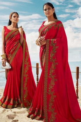 Karwa Chuath Special Red Saree For Married Women