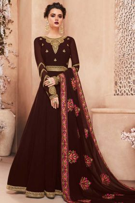 Kashmira Georgette Ceremony Gown Style Anarkali Suit In Brown Color