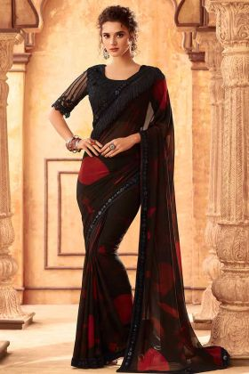 Kasta Georgette Partywear Black Saree For Women