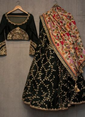 Katrina Kaif Black Flower Printed Lehenga Choli