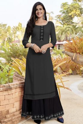 Keep Cart Woman Slub Cotton Black Sharara Kurti Set