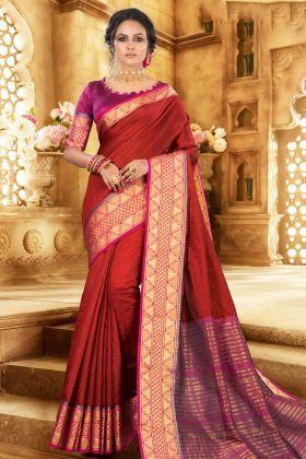 Khadi Silk Red Saree With Magenta Pink Blouse