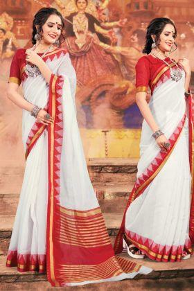 Khadi Silk White And Red Traditional Saree