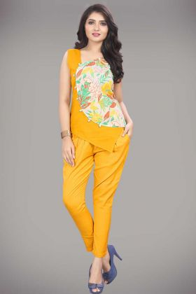 Khadi Cotton Fashion Western Top Mustard Yellow