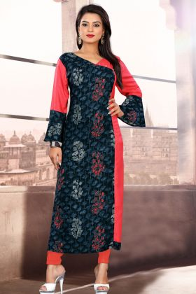 Khadi Cotton Navy Blue and Pink Readymade Kurti