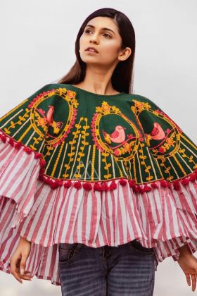 Khadi Green Color Embroidered Poncho Top