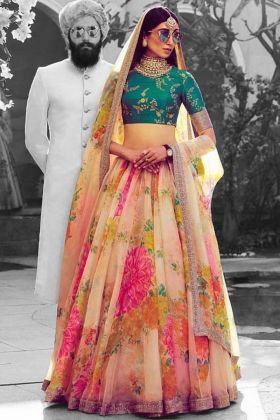 Khadi Organza Lehenga Choli Cream Color With Sequins Embroidery Work