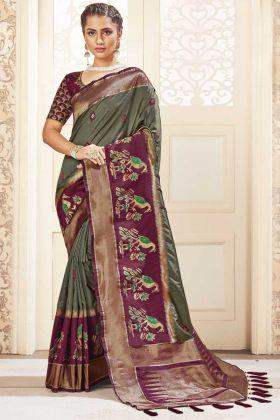 Khakhi Color Party Wear Banarasi Pure Silk Saree