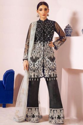 Kilruba Black Pakistani Salwar Kameez With Net Fabric