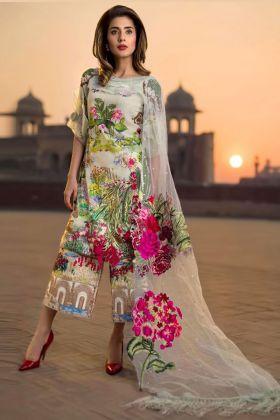 Kilruba Multicolor Pure Cotton Pakistani Suit Semi Stitched