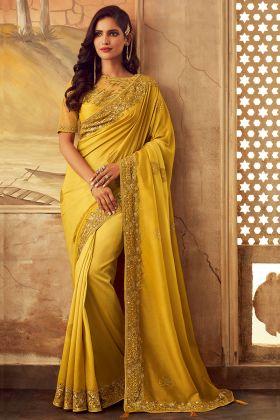 Kisna Silk Wedding Saree Embroidery Work In Yellow Color
