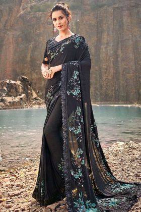 Korean Festival Saree Black Color With Thread Work