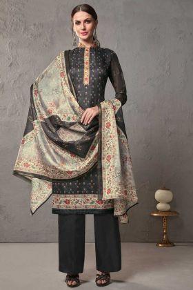 Kota Checks Pattern Designer Straight Salwar Suit Cotton Silk In Black