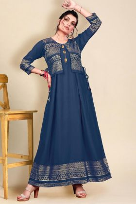 Kotti Attached Stylish Heavy Rayon Gown In Blue Color With Low Rate