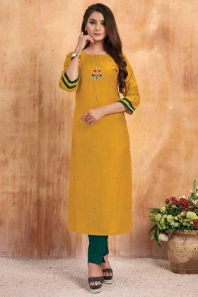 Kurti With Bottom In Yellow Color Muslin Fabric