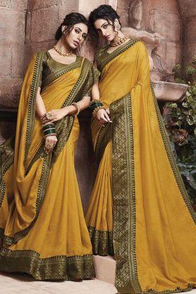 Lace Border In Designer Saree Soft Art Silk In Mustard Yellow