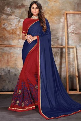 Lace Border Work Blue Red Party Wear Lycra Net Saree