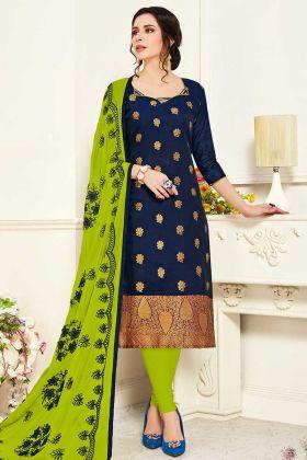 Ladies Dress Material With Navy Banarasi Silk Fabric