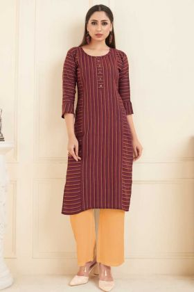 Ladies Flavor New Arrival Cotton Maroon Kurti