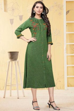 Ladies Flavor New Arrival Green Linen Long Readymade Kurti