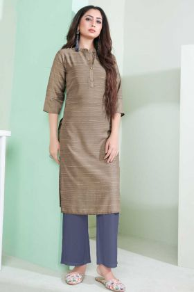 Ladies Flavor New Arrival Light Brown Printed Kurti