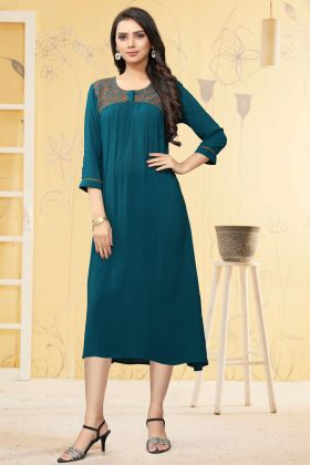 Ladies Flavor New Arrival Teal Blue Georgette Readymade Long Kurti