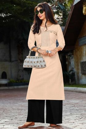Ladies Peach New Palazzo Kurti Design