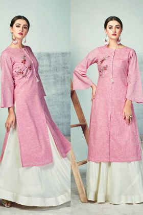 Ladies Pink Color Readymade Kurti