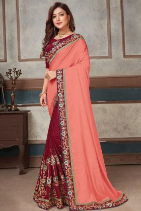 Latest Arrival Art Silk Peach Maroon Party Wear Heavy Saree