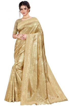 Latest Arrival Cream Color Party Wear Art Silk Saree