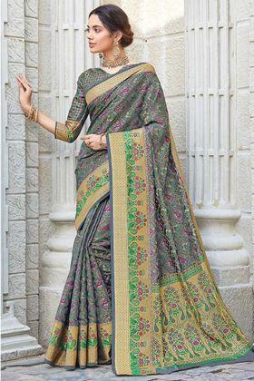 Latest Arrival Grey Patola Silk Weaving Party Wear Saree