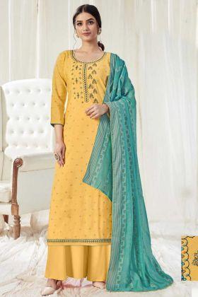 Latest Arrival Light Yellow Pure Dola Cotton Salwar Suit