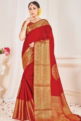 Latest Banarasi Art Silk Red Color Saree For Pooja Function