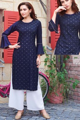Latest Blue Color Rayon Ladies Dress With Mirror Work