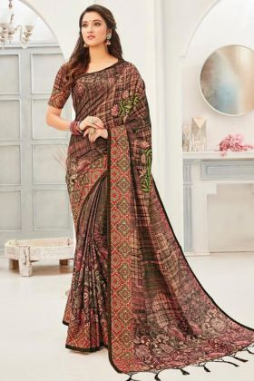 Latest Branding Stylish Designer Coffee Color Silk Saree