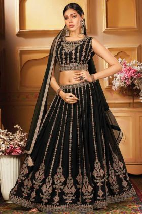 Latest Collection Bottle Green Georgette Ceremony Lehenga Choli