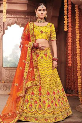 Latest Collection Bridal Wear In Yellow Color Silk Lehenga Choli Design