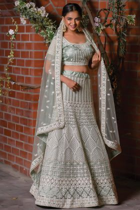 Latest Collection Grey Color Wedding Wear Net Fabric Lehenga Choli