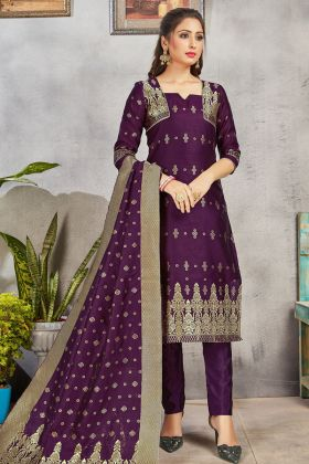 Latest Collection In Purple Color Banarasi Art Silk Salwar Suit