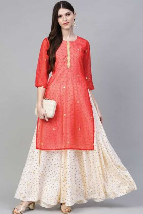 Latest Cream And Red Color Fashionable Crepe  Kurti