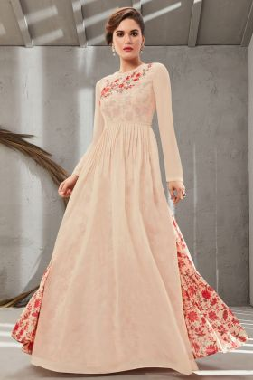 Latest Cream Color Poly Organdy Gown Online