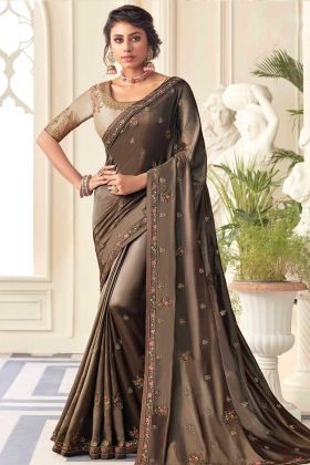 Latest Design Brown Color Satin Silk Heavy Saree For Special Function