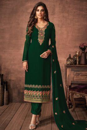 Latest Design Green Color Foux Georgette Party Wear Salwar Suit