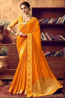 Latest Design Musturd Yellow Art Silk Party Wear Saree