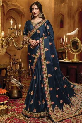 Latest Design Navy Blue Satin Silk Saree