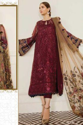 Latest Design Of Maroon Georgette Designer Pakistani Suit