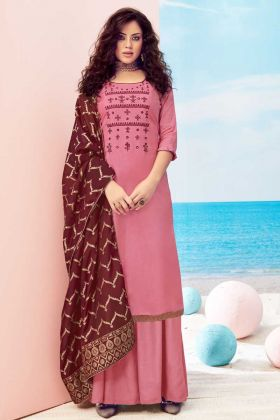 Latest Design Old Rose Pure Viscose Maslin Party Wear Suit