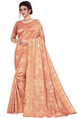 Latest Design Peach Color Art Silk Festive Wear Saree