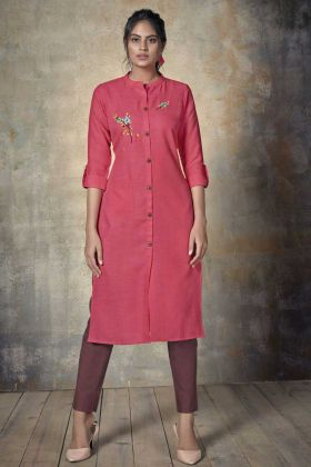 Latest Design Pink Cotton Thread Embroidery Readymade Kurti