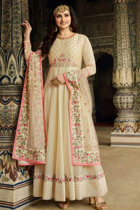 Latest Designer Anarkali Suits With Soft Silk Cream Color